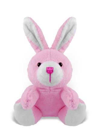 Studio shot of a isolated stuffed soft pink bunny toy sitting over a white background Imagens