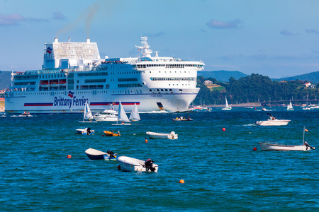 SANTANDER, SPAIN - AUGUST 15, 2018. Entrance of the Pont-Aven passenger ship of the company Brittany Ferries in the Bay of Santander (Cantabria). It belongs to the select club of the most beautiful ba