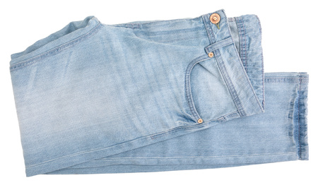 Light blue jeans. Isolated on white background.