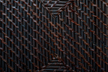 Natural texture of braided wicker of dark color. Horizontal and vertical lines. Ocher, brown and black tones.