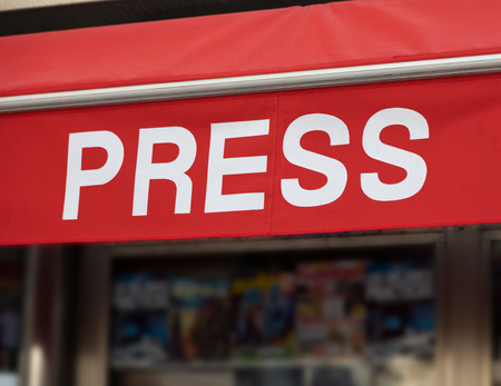 Press poster in english (kiosk, sale of newspapers, magazines, ...)