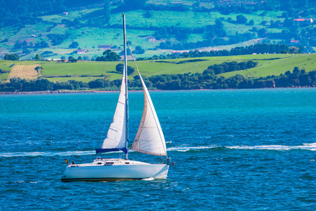 Sport sailing ship sailing through bay with calm sea and blue sky. Space to insert your text. Santander (Spain)