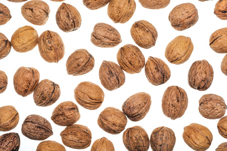Texture with nuts. Isolated on white background. Imagens