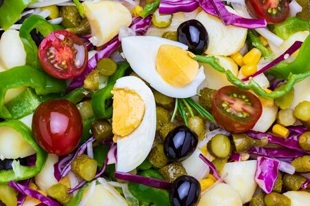 Healthy and fresh salad (periñaca, piriñaca). Mediterranean summer diet.