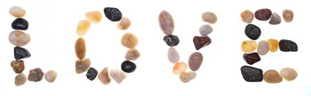 Word LOVE handmade with stones (boulders). Collection words with stones. Isolated on white background