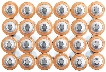 Texture AA electric batteries (AAA). Positive pole view (+ -). White background.