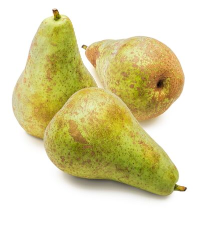 Fresh and raw whole green pears, fresh from the tree (variety conference, Pyrus communis conference). Isolated on white background