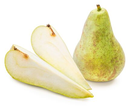 Green pears whole and cut in half (segments), freshly picked from the tree (variety conference, Pyrus communis conference) fresh and raw. Isolated on white background
