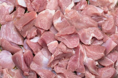 Raw and fresh (diced) pieces of turkey meat (chicken).