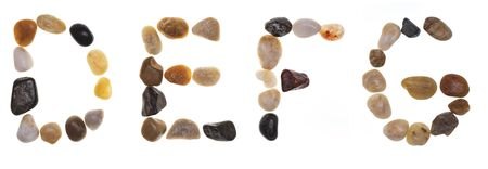 D E F G (alphabet) hand-made letters with stones . Typography Collection. Isolated on white background
