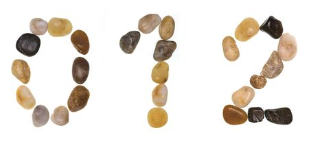 0 1 2 (alphabet) hand-made numbers and letters with stones . Typography Collection. Isolated on white background