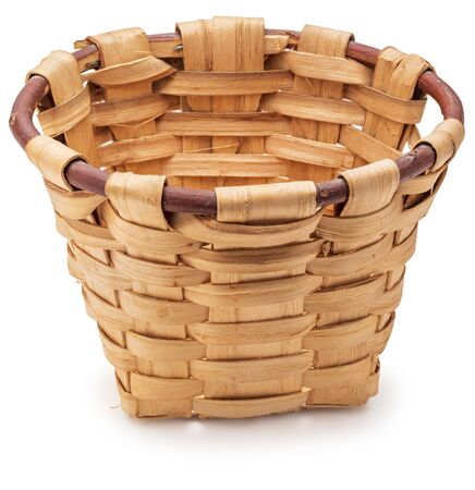 Beautiful wicker basket. Craftsman and handmade at home. Front view. Isolated on white background