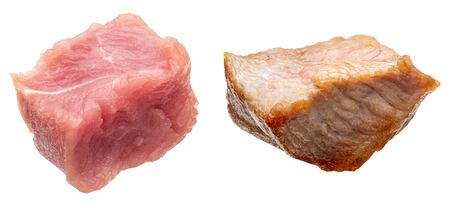 Pieces (in the form of dice) of raw and cooked turkey meat (chicken). Isolated on white background.