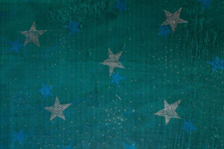 Old metallic texture and stars (gold and blue). Green, blue, turquoise and silver colors. Ready for Christmas greeting. Фото со стока - 134588407
