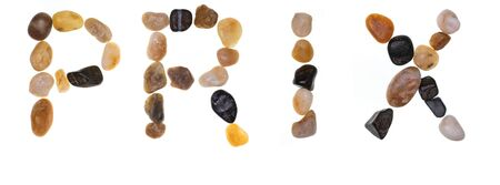 Word PRIX handmade with stones (boulders). Collection words with stones. Isolated on white background. Фото со стока