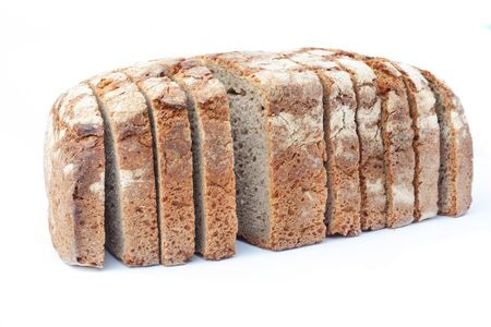 Sliced rye bread. Isolated on white background. Фото со стока