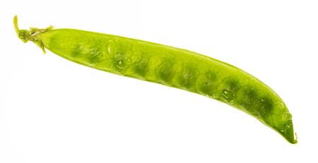 Green peas (chícharos, petipuas), tender and very fresh (with drops of water). Isolated on white background.