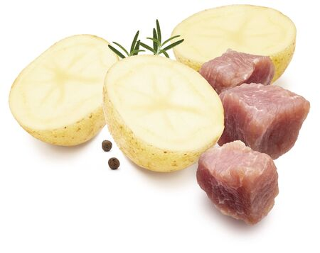 Ingredients for stew. Dices of meat, potatoes, black pepper and rosemary. Isolated on white background. 版權商用圖片