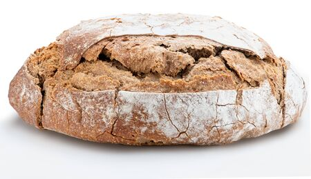 Crispy rustic homemade bread. Side view of whole rye bread. Isolated on white background. 版權商用圖片
