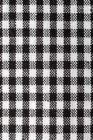 Close-up Vichy tablecloth texture. Black and white. Copy Space.
