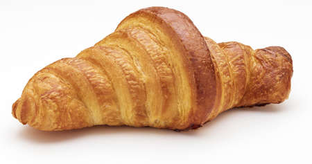 Crispy fresh butter croissant. Isolated on white background. Фото со стока