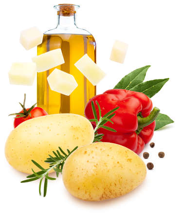 Ingredients for stew. Potatoes, red pepper, olive oil, bay leaf, black pepper and rosemary. Isolated on white background.