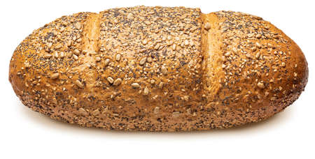 Rustic multigrain bread (wheat, rye, sunflower seeds, linseed, poppy, sesame and barley). World Champion. Isolated on white background Side view.