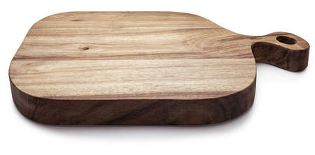 Rectangular acacia wood cutting and chopping board. Isolated on white background. Top view. Фото со стока