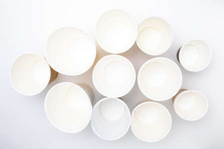 Background of empty paper cups (Take away). Top view.