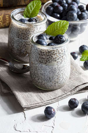 Appetizing, healthy and refreshing chia seed pudding with fresh blueberries and mint leaves. Vegetarian and vegan food with healthy superfoods. Homemade look.