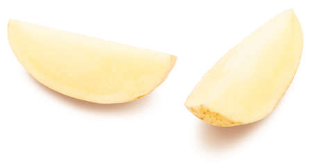 Potato cut into wedges, washed and with skin. Isolated on white background.