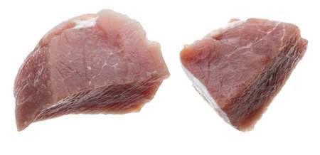 Raw, juicy and fresh chunks (dice shaped) of pork tenderloin. Isolated on white background.