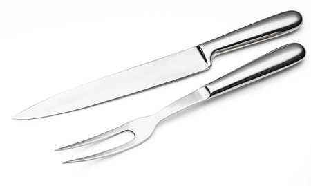 Modern stainless steel knife and fork for carving meats (cutlery for carving turkey) (kitchen objects collection). Isolated on white background.