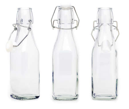 Several glass bottles with 250 ml soda type closures. Without label and isolated on white background. Stock fotó