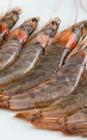 Close-up of fresh, raw and whole prawns. On white background. Stock fotó