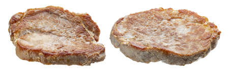 Pork tenderloin (sirloin) meat fillets (pieces) cooked (grilled), juicy and fresh. Isolated on white background.