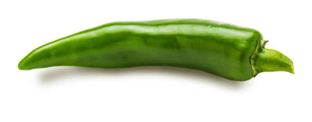 1 fresh green chilli pepper. Isolated on white background.