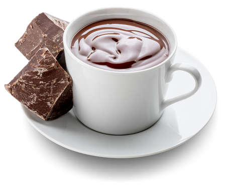 Cup of delicious thick drinkable hot chocolate with pure dark chocolate bars. Bowl isolated on white background and copy space.