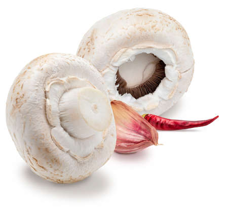Raw mushrooms, whole and rolled, with chillies and garlic (champignon, cut foot, Agaricus Bisporus). Isolated on white background