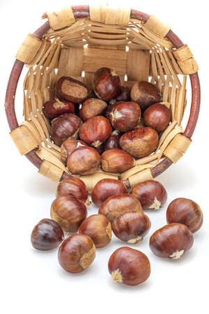 Basket with chestnuts. Isolated on white background. Stock fotó