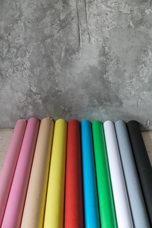 Colorful paper backgrounds for a photo studio. New paper backgrounds. Stock Photo