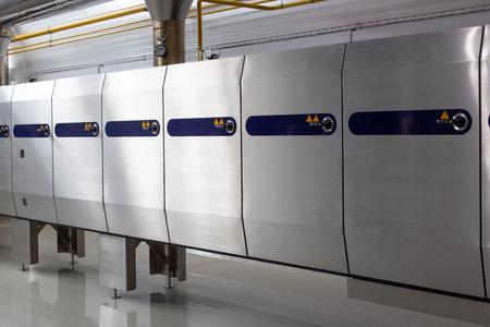 Ice cream production line. Conveyor production. Oven for food production. Selective focus. Reklamní fotografie