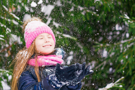 Charming girl kid puts palms up with close eyes in winter trying to catch snowflakes. 免版税图像