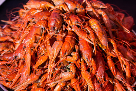 big boiled red crawfish on the plate