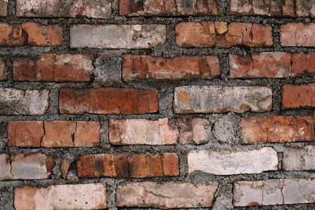 Red old worn brick wall texture background. Vintage effect.