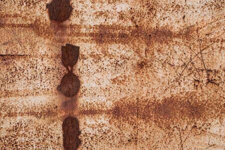 Metal with rust texture background. white peeling paint. Standard-Bild