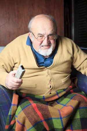 grumpy old man: angry old man Stock Photo
