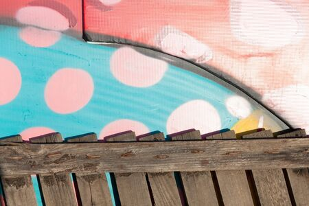 wooden fence on dotted colorful background canvas