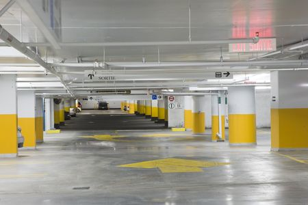 Interior view of an underground parking garage