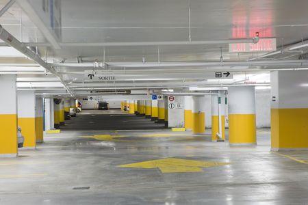 car park interior: Interior view of an underground parking garage